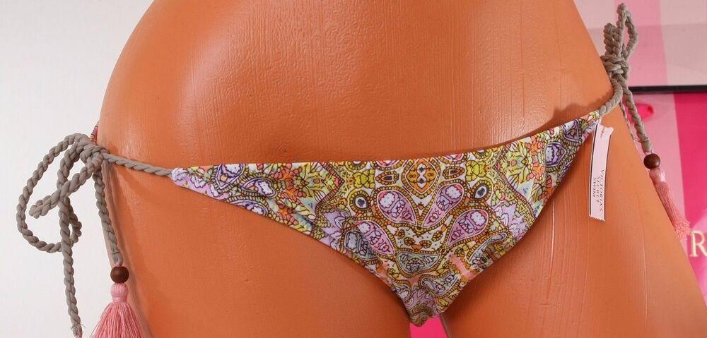 Pink Victoria/'s Secret Swim Strappy Low-Rise Cheeky Bikini Bottom M L NWT