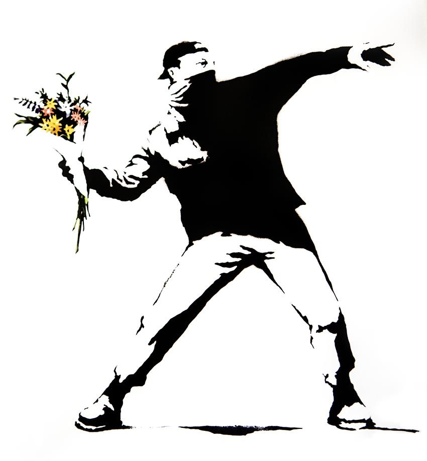 Banksy, street art. Jerusalem. I love Banksys pieces. He usually uses very few colors to draw attention on something.