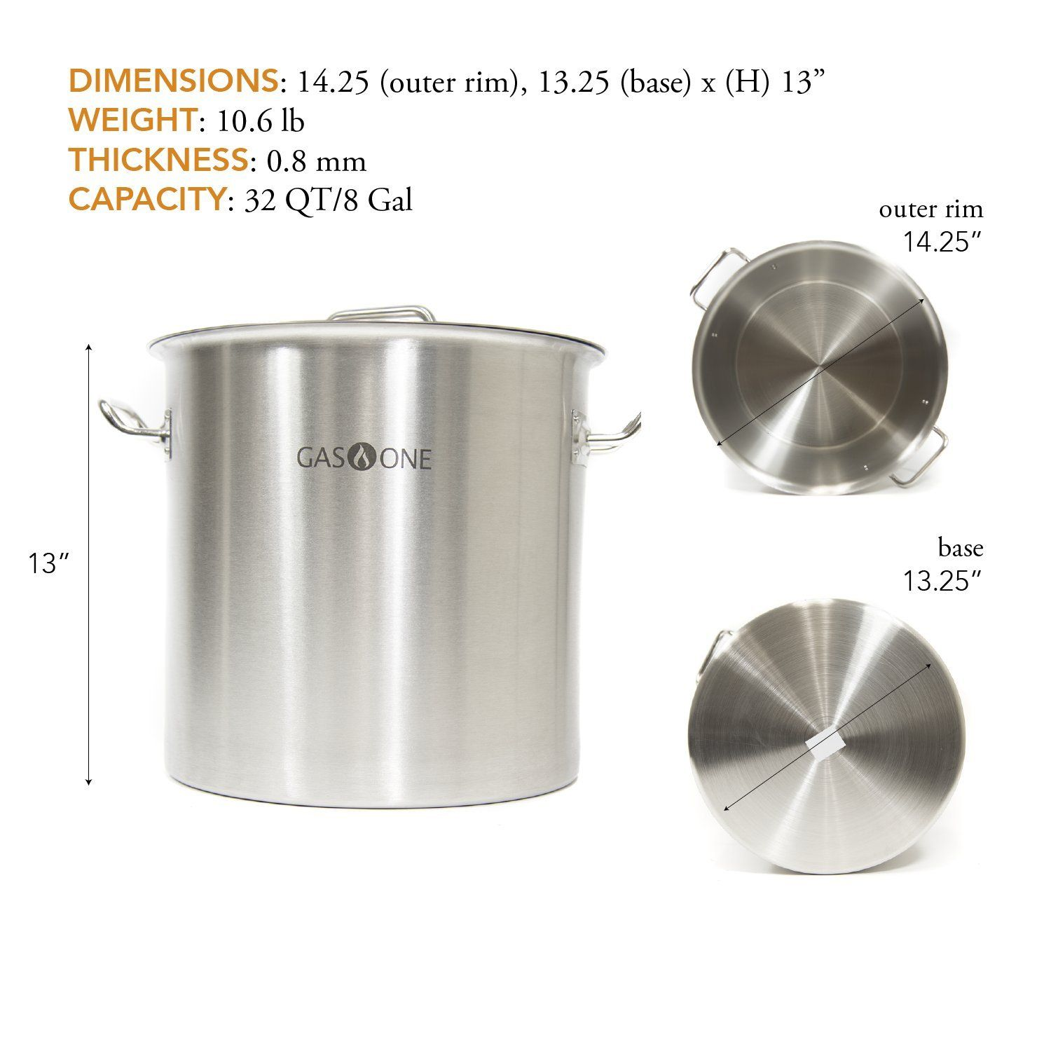 Gas One Stainless Steel Brew Kettle Pot 8 Gallon 32 Quart Satin Finish With Lid Cover For Beer Brewing Crawfish Crab Beer Brewing Crawfish Cooking Accessories