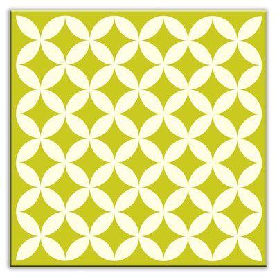 "Oscar & Izzy Folksy Love 4-1/4"" x 4-1/4"" Glossy Decorative Tile in Needle Point Avocado"