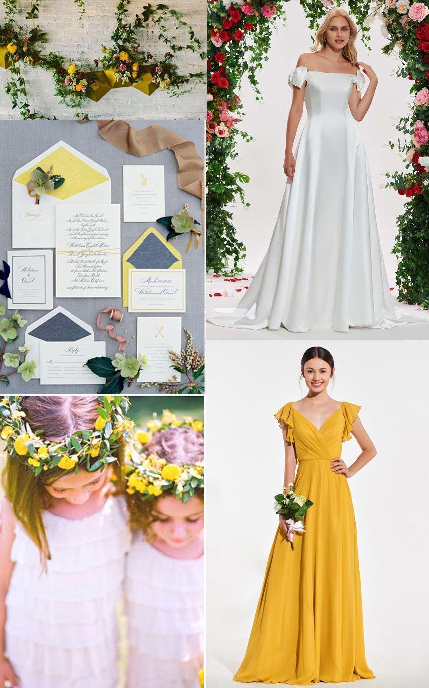 Yellow wedding theme yellow bridesmaid dress in wedding for fall