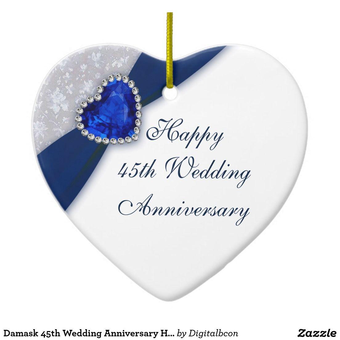Damask 45th Wedding Anniversary Heart Ornament