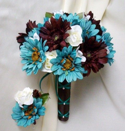 Teal Wedding Flowers Ideas: Bridal Bouquet Turquoise Chocolate Brown Silk Flowers