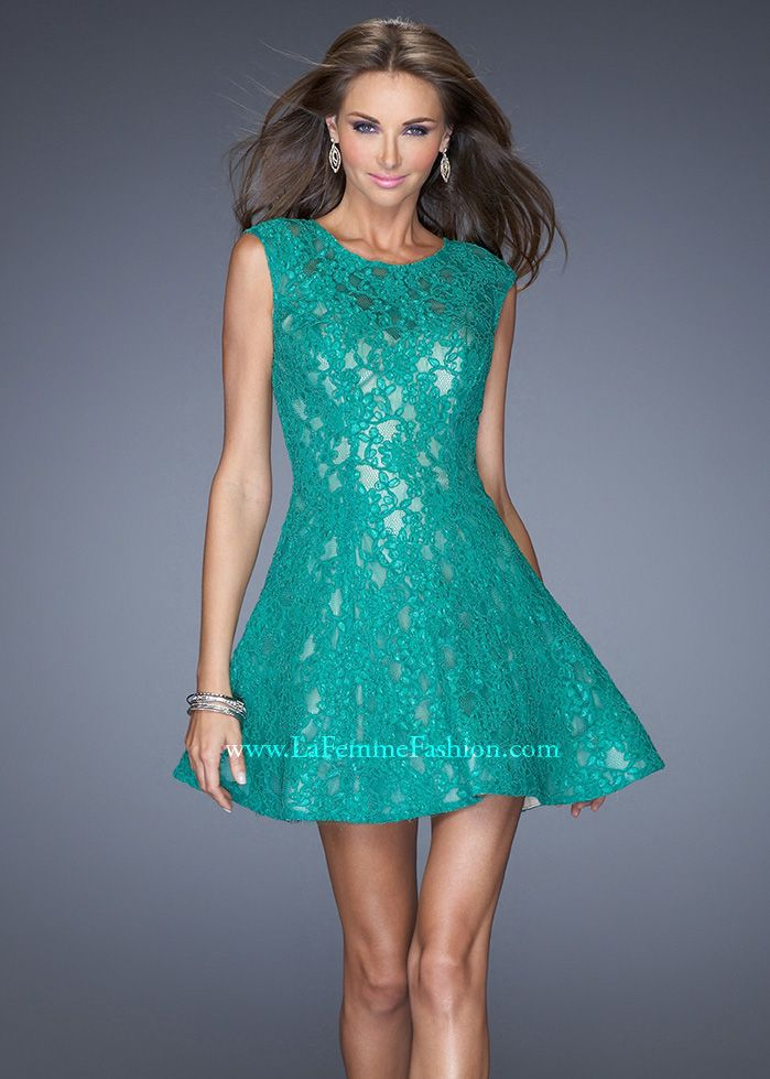La Femme 19681 - Kelly Green Lace Illusion Short Prom Dresses Online #thepromdresses