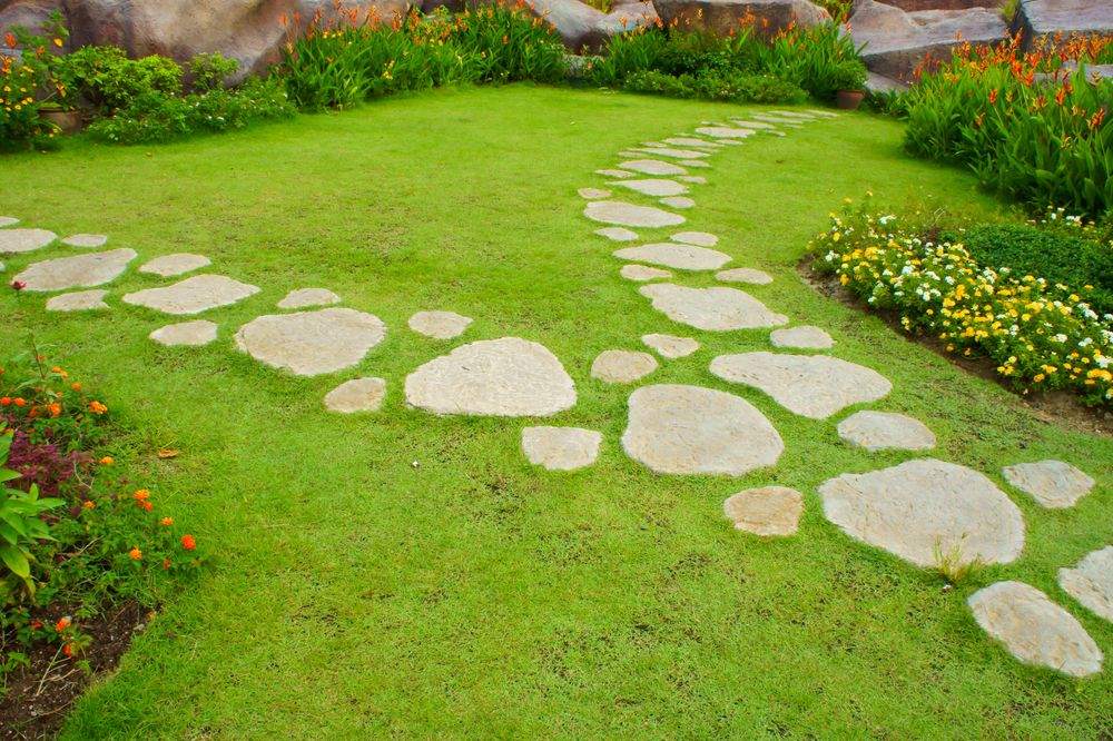 Use Stone Pavers To Create Natural And Unique Steps Stone Garden Paths Garden Stepping Stones Stepping Stone Paths
