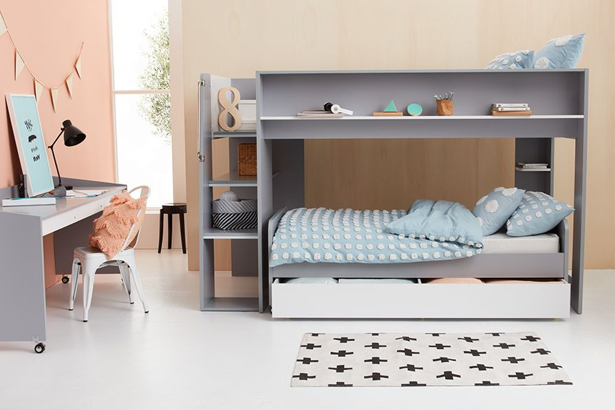 Loft Bed With Pull Out Desk And Single Bed Combo Bed Modern