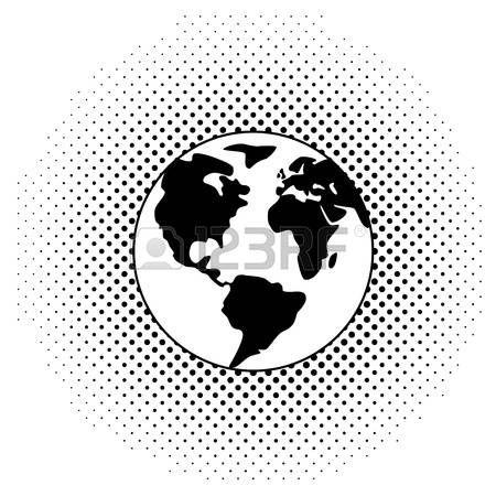 Earth Vector Black And White Illustration Of Earth Globe Black And White Illustration Earth Globe America Art