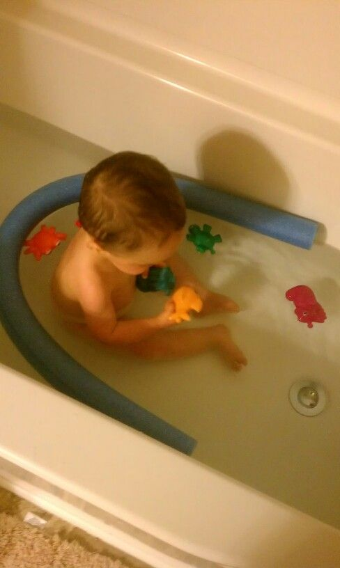 Pool noodle to keep toys from floating away in the bath tub ...