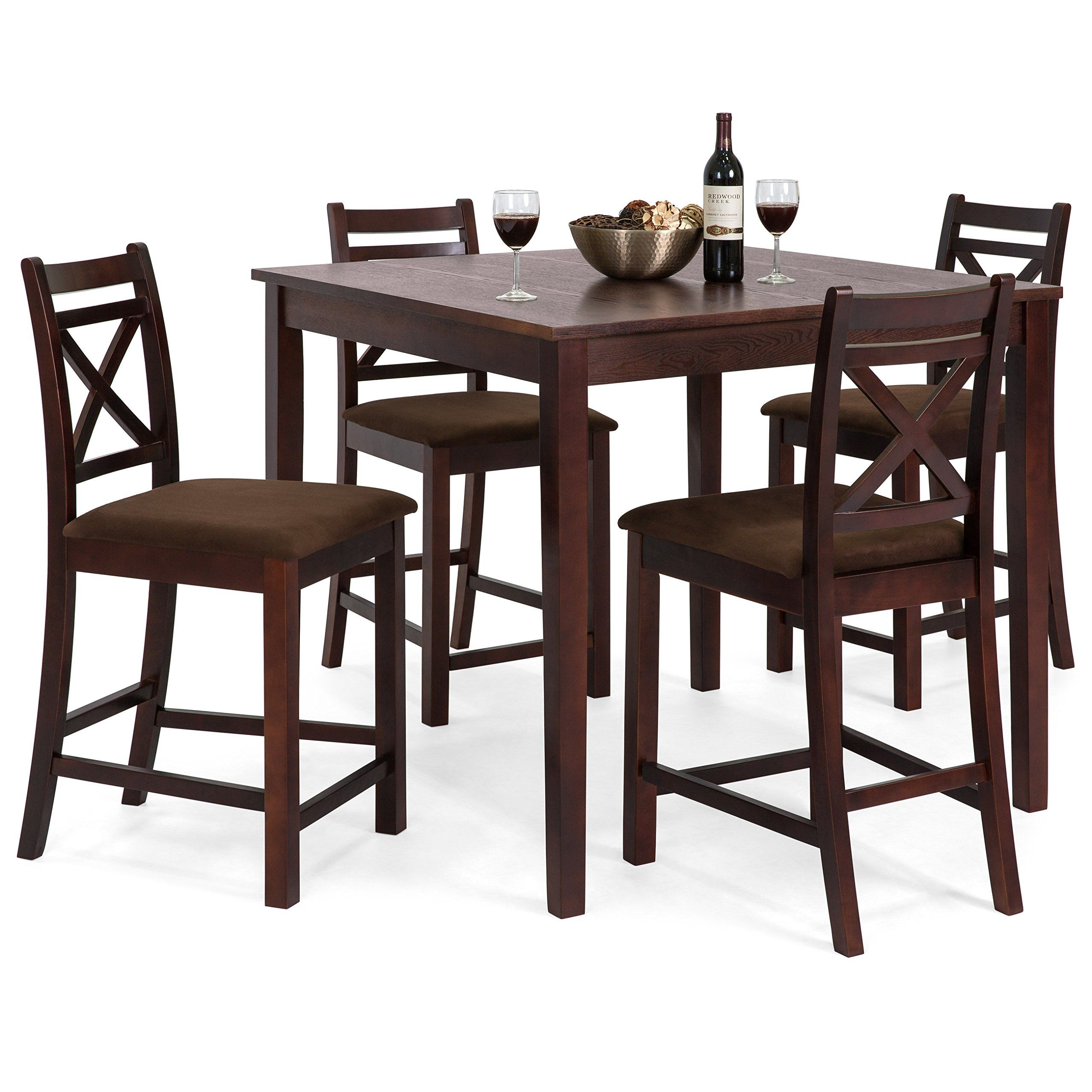 Best Choice Products 5piece Wooden Counter Height Square Dining Table Set W 4 Chairs Square Dining Table Set Dining Room Furniture Sets Dark Wood Dining Table