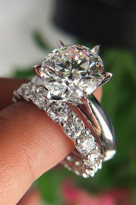 Details über Zertifizierter runder weißer Diamant-Verlobungs-Ehering von 3,20 Karat in 14 Kar… – Rings