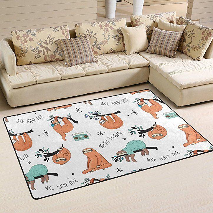coosun Faultier Muster Bereich Teppich Teppich rutschfeste Fußmatte - wohnzimmer orange beige