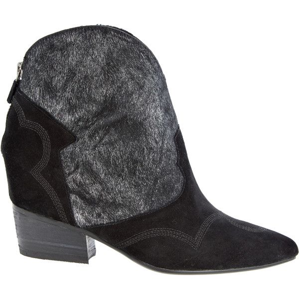 LOLA CRUZ Ivy Calf Hair Bootie (140 CAD) ❤ liked on Polyvore featuring shoes, boots, ankle booties, black, ankle cowboy boots, western cowboy boots, short cowboy boots, cowboy boots and western booties