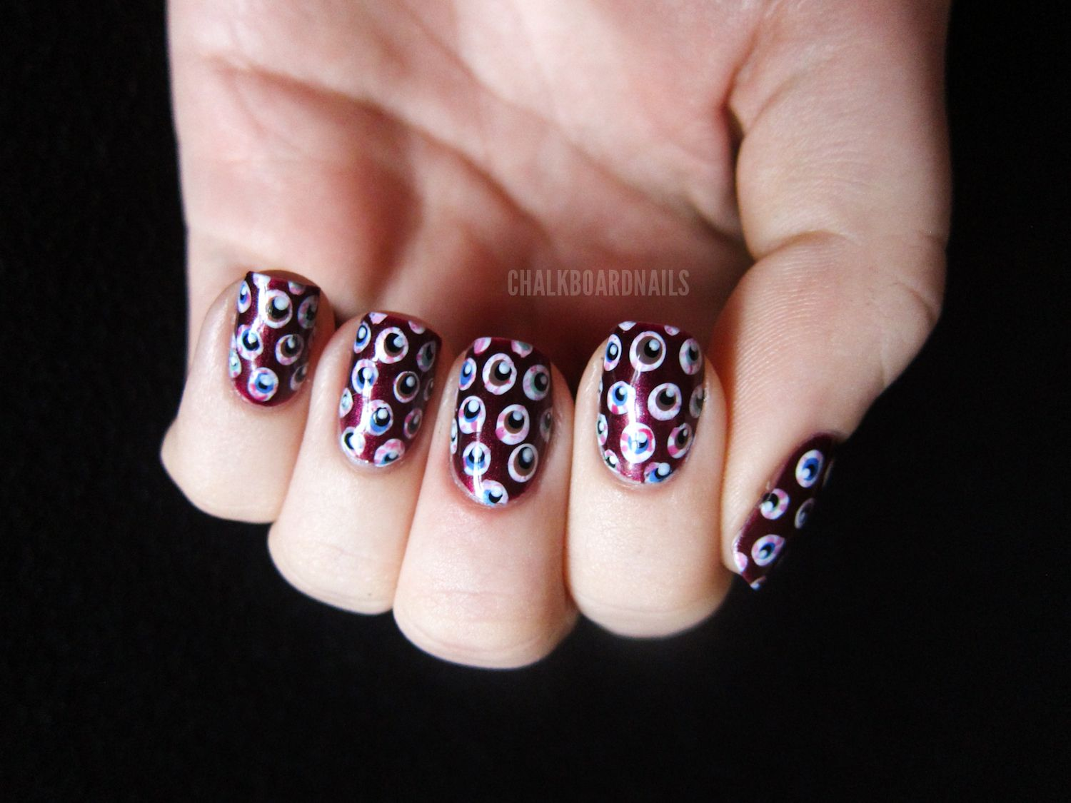 Eyeball Pattern Nails (+ Tutorial) | Nail tutorials, Nail ...