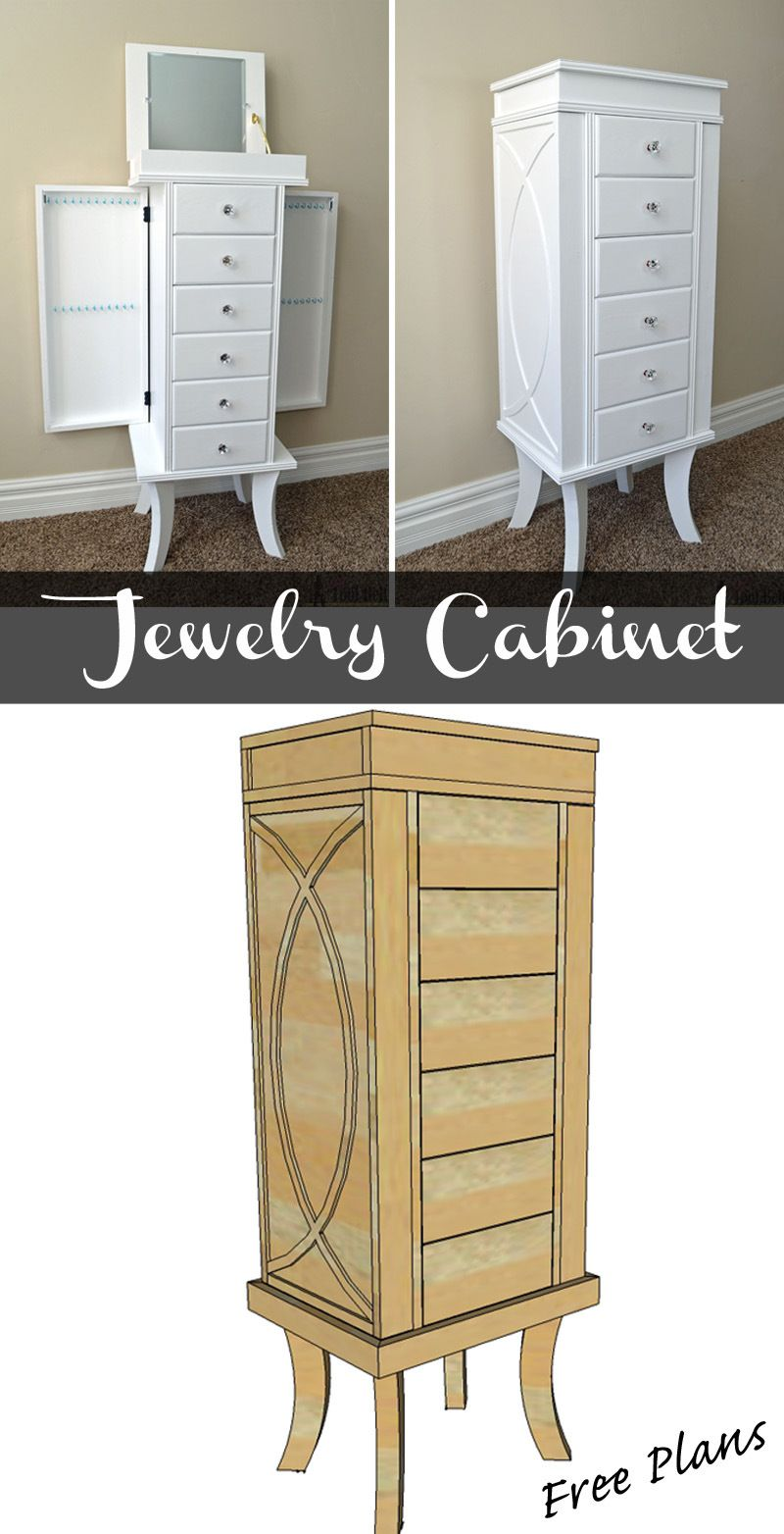 Jewelry cabinet jewelry cabinet diy woodworking and woodworking build a beautiful jewelry cabinet to organize and store all of your beautiful things free solutioingenieria Gallery
