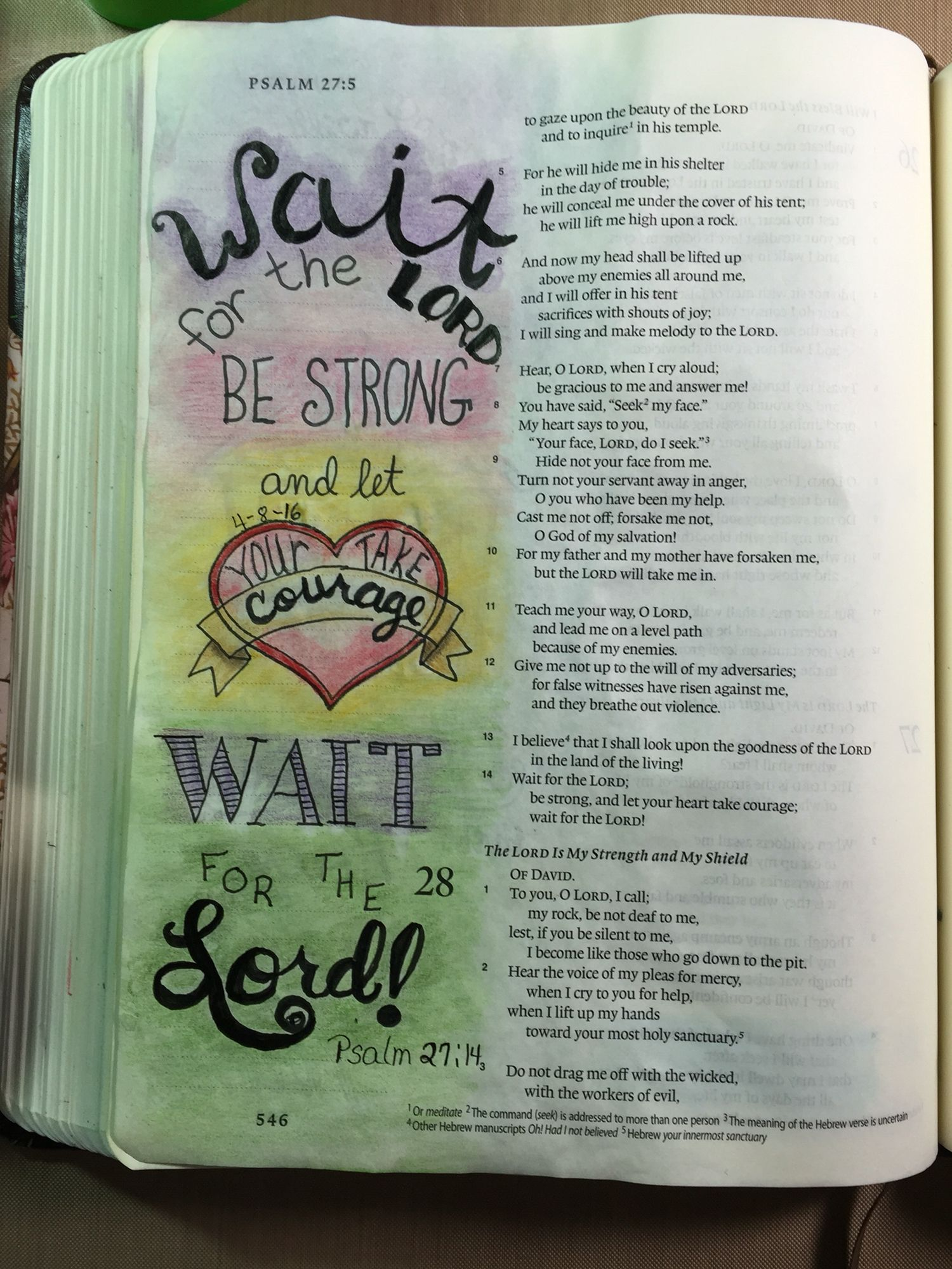 Psalm 27:14 Wait on the Lord  #30daysofbiblelettering | My
