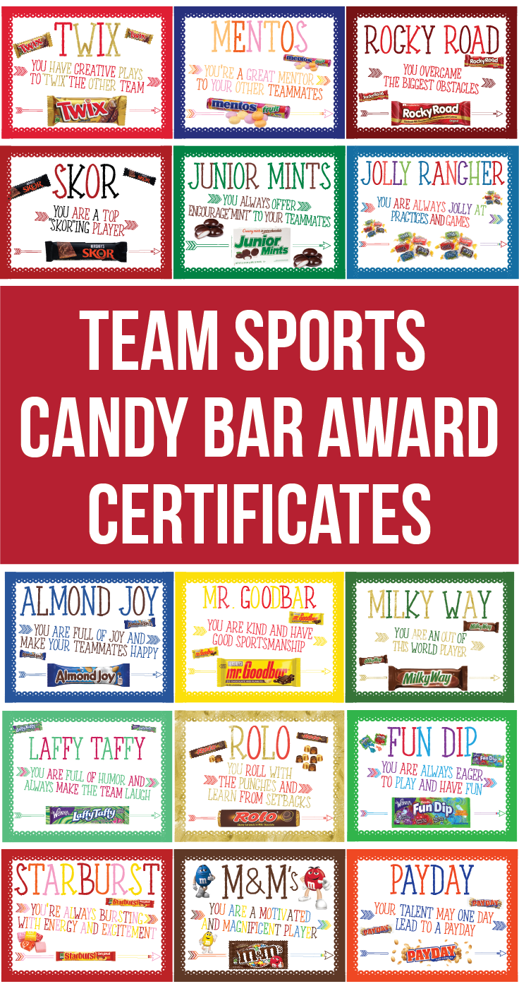 30 Sports Team Candy Bar Award Certificates Sports Players Etsy Candy Bar Awards Cheerleading Award Basketball Awards