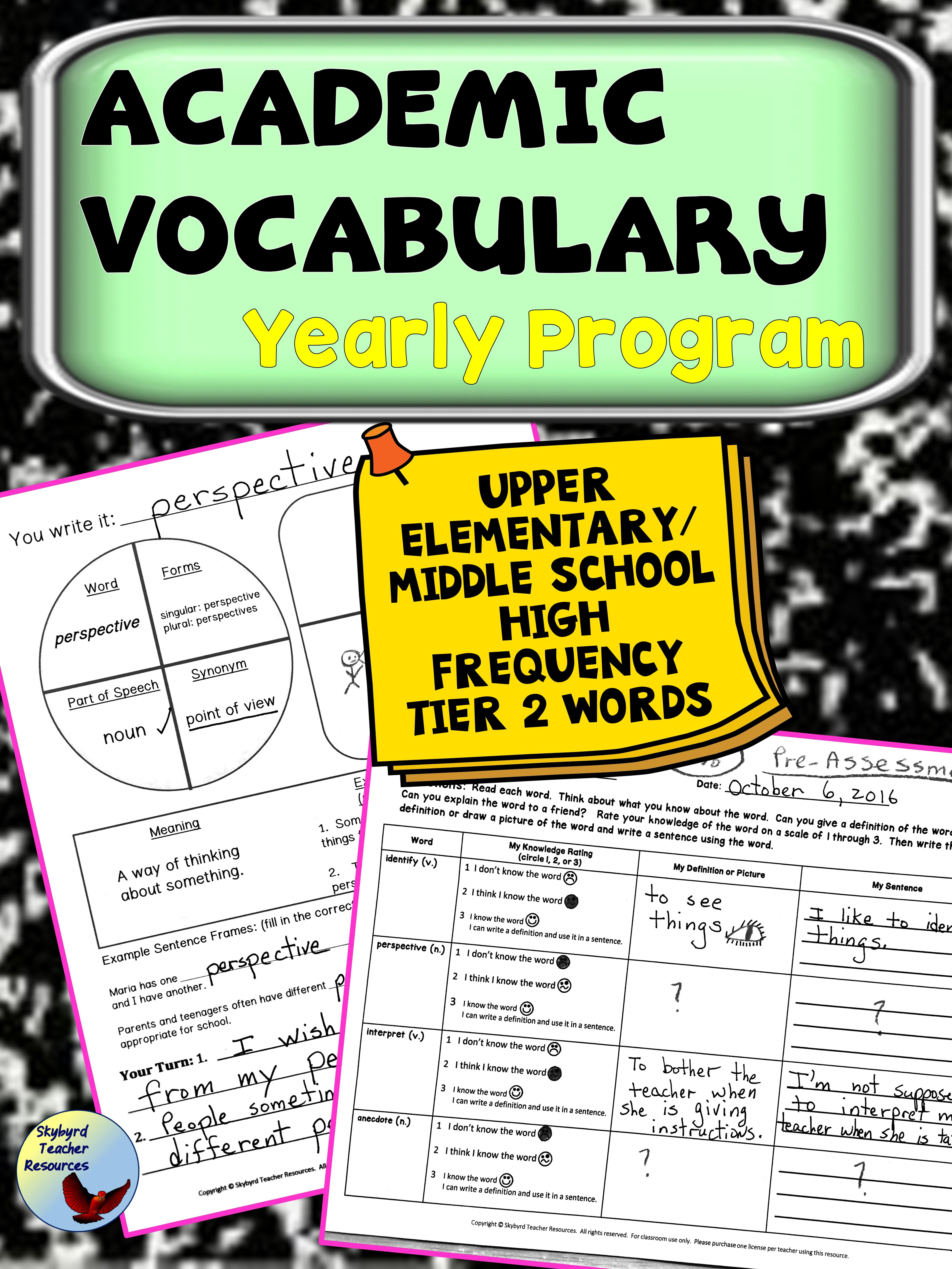 Word Of The Week Academic Vocabulary Yearly Program Great