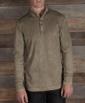 WILLIAM - SOLDIER color: soldier  item J820007  100% Cotton.  Long sleeve. Slub jersey button mock neck.  Garment overspray for distressed finish.  Raw edge and contrast stitch detail.