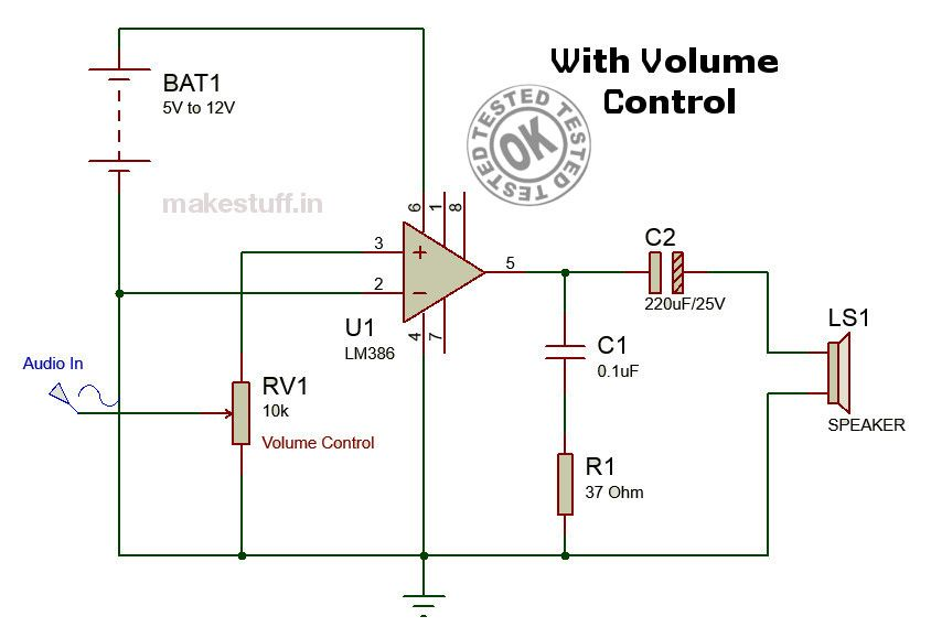 modified circuit diagram of amplifier lm386 pinterest rh pinterest com