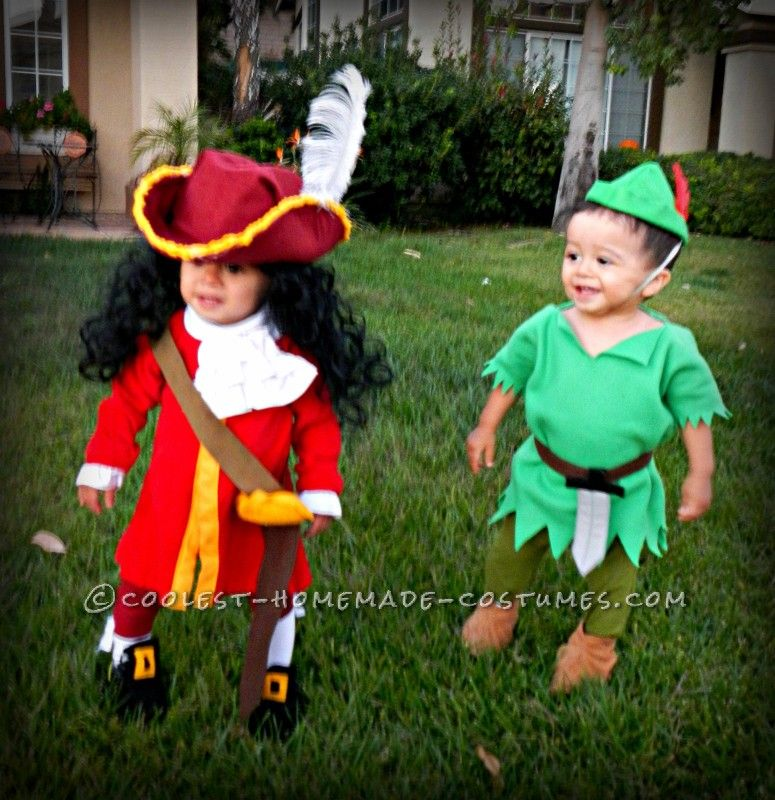 Cool captain hook and peter pan twin toddler costumes and for Unique childrens halloween costume ideas