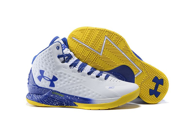Mens Under Armour Stephen Curry One White Blue and Yellow MVP ...
