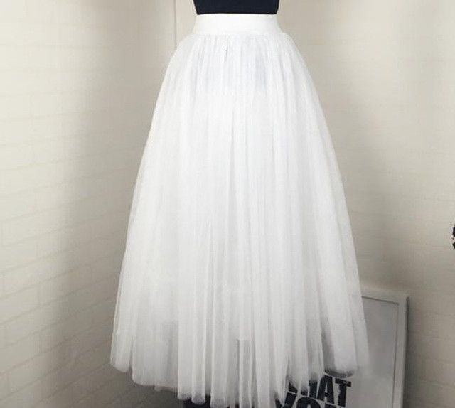 65b072960 women Puff Mesh Tulle Skirt White Faldas High Waist Pleated Maxi Long Tulle  Skirts Plus Size 3 Layers With Liner