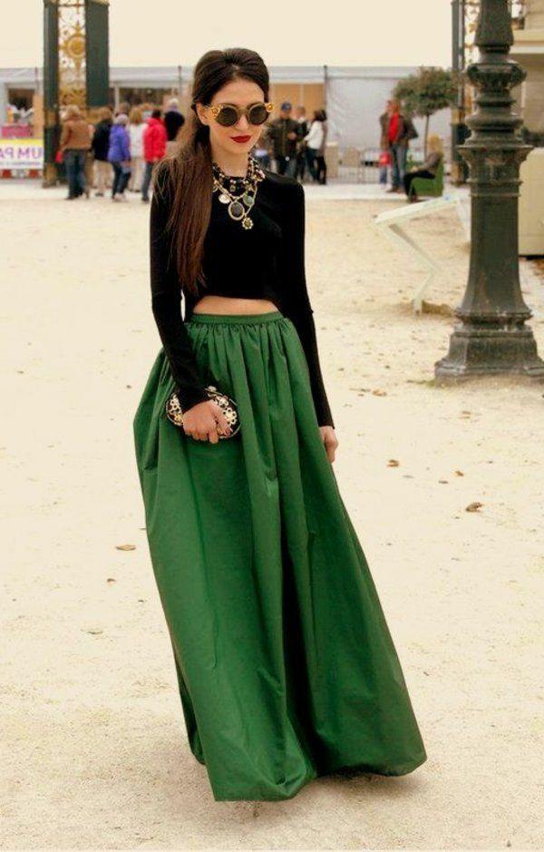 3283f0b56d22ed Comment porter une jupe longue ? | Moda damska | Mode, Jupes vertes ...