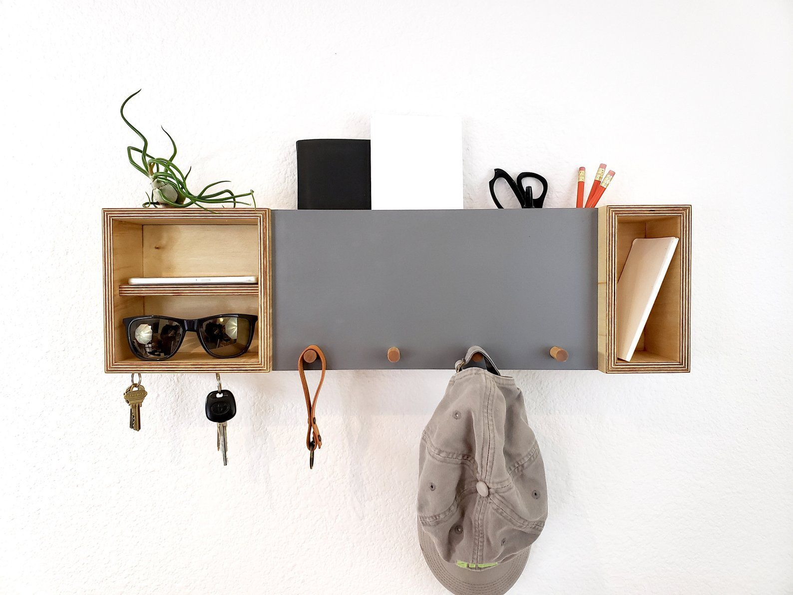 Entryway Organizer Mail Organizer Shelf With Hooks Modern Etsy Entryway Organization Entryway Key Holder Modern Key Holder