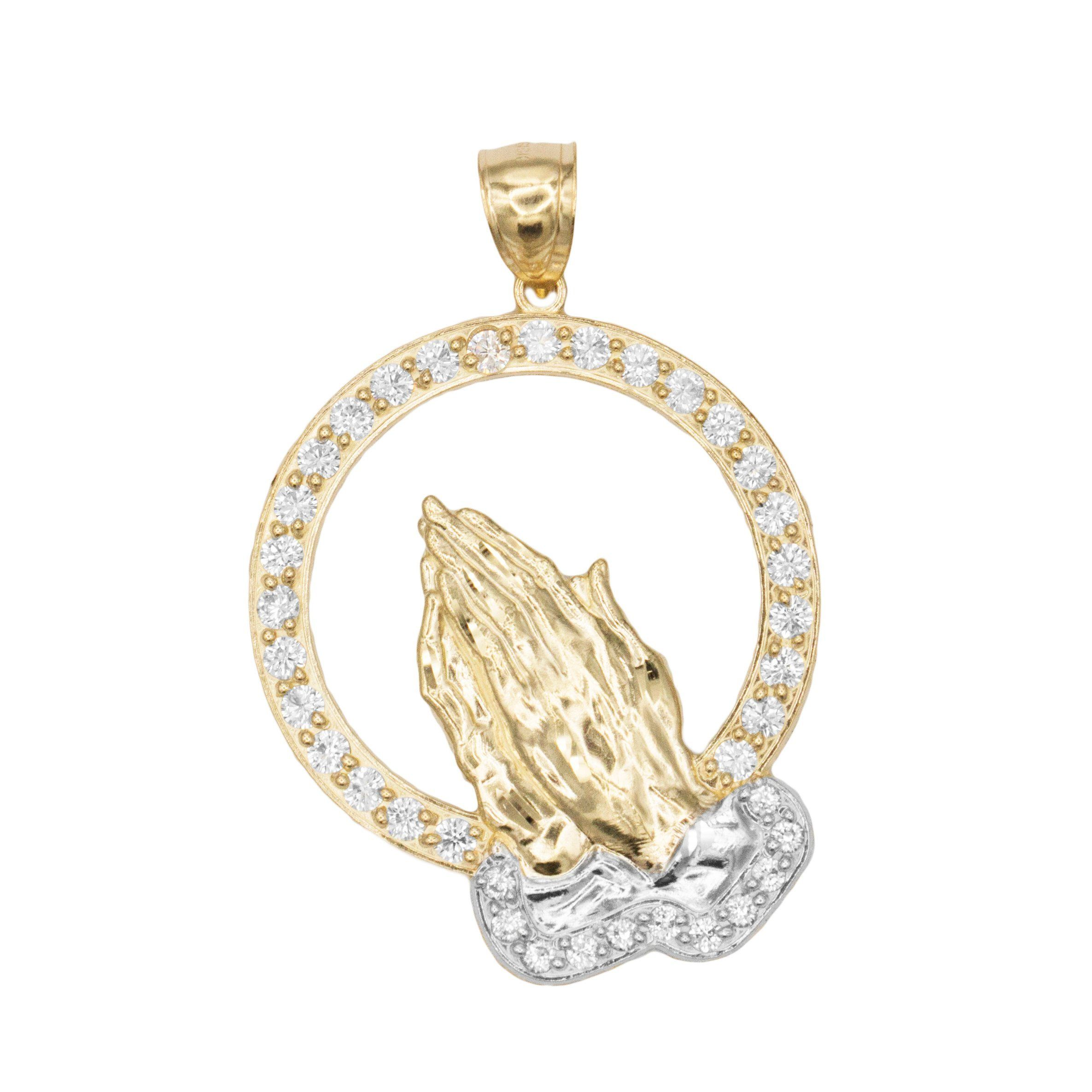 48c44ca5dedb1 Large 10k Solid Gold Praying Hands Pendant with Cubic Zirconia ...