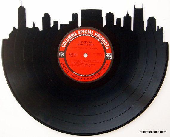 Detroit Skyline on Motown Vinyl Record Art