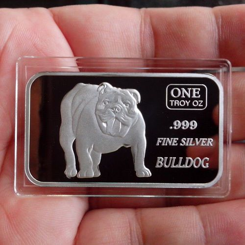 1 Troy Ounce 999 Fine Silver Bar Bulldog Sb138 Silver Bars