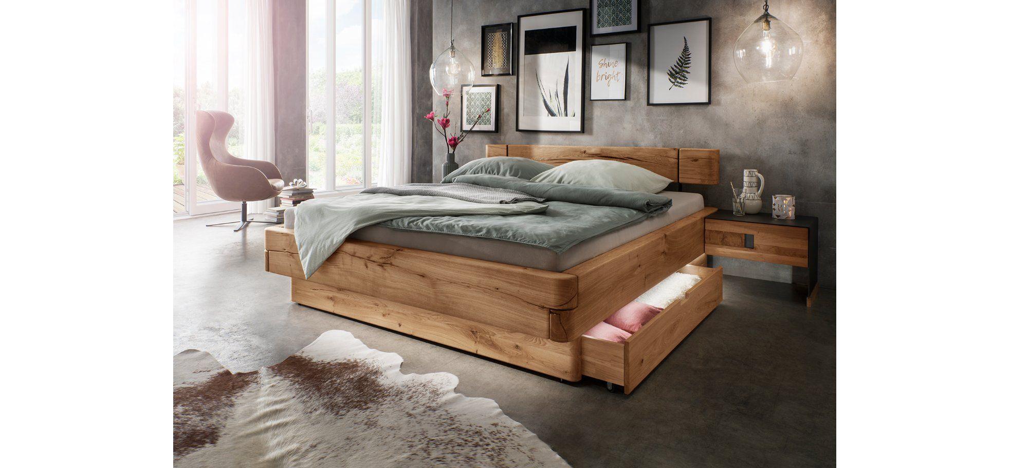 Nachttisch Natura Baltimore Massive Wildeiche Mit Metall Krause Home Company In 2020 Bett Massivholz Bett Mit Schubladen Bett Holz