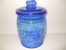 Cobalt Blue Planters Peanuts Barrel Shaped Cookie Jar Peanut Shapedfinial Lid Glass Jars Jar Glass