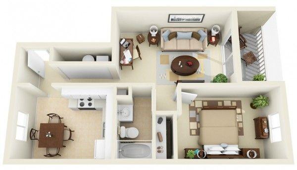 50 Plans en 3D d\u0027appartement avec 1 chambres Sims house