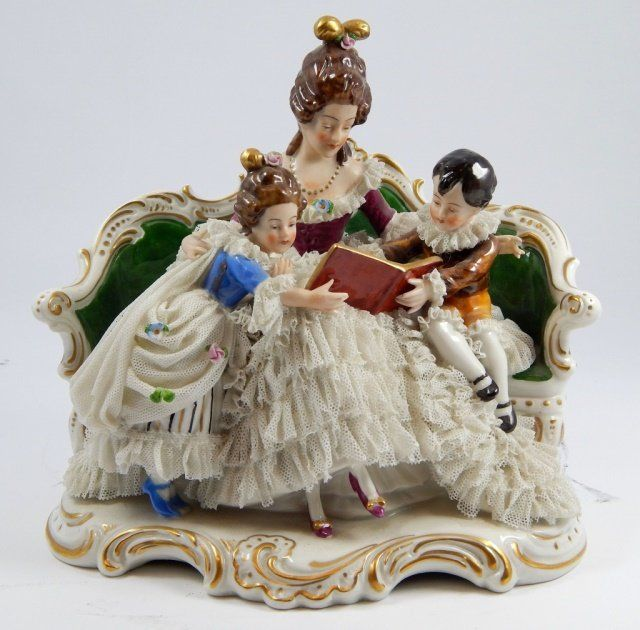 A German Porcelain Lace Figural Group, Width 11 inches. : Lot 181