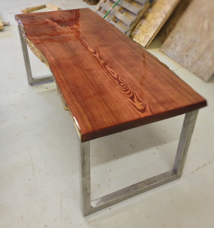 Rustic Wood Slab Coffee Table For Sale At 1stdibs: Live Edge Catalpa Wood Slab Kitchen Table / Office Desk