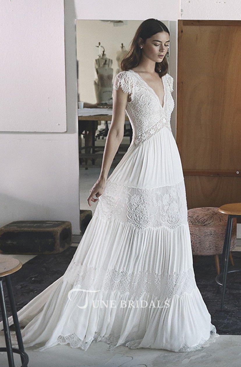 Empire Boho Vneck Aline Chiffon Wedding Gown With Petal