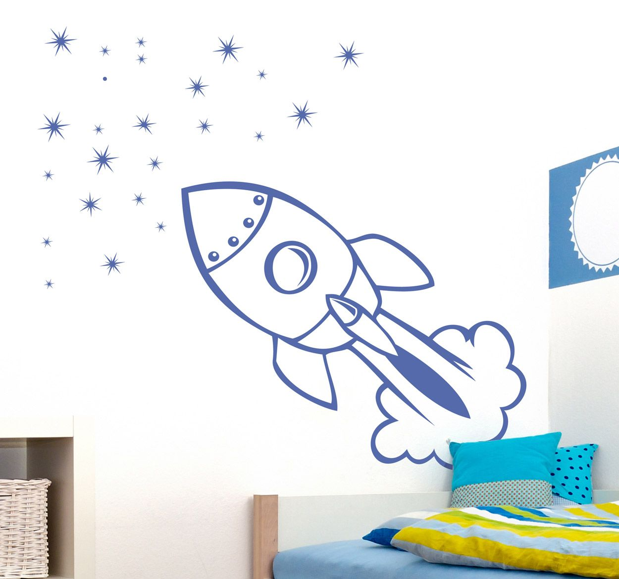 create a luxurious and unique decoration for the kids room with this fun rocket wall sticker is sure to liven up your son s bedroom and make it a more pleasant space to spend time perfect for completing a themed room