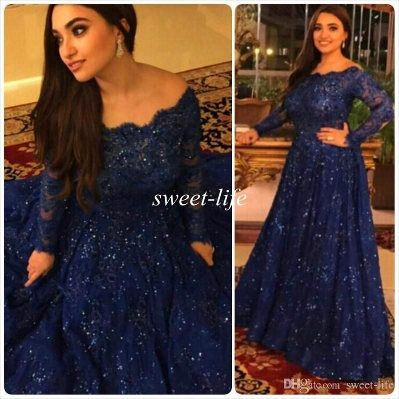 e9865093d3a Sparkly Vintage Evening Dresses 2015 Cheap Long Sleeves Beads Crystals  Ruffled Sweep Train Plus Size Arabic Navy Blue Lace Formal Prom Gowns Online  with ...