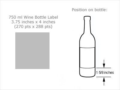 water bottle label dimensions