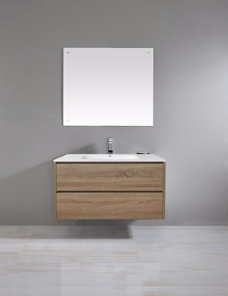 900mm Timber Oak Wood Grain Wall Hung Bathroom Vanity Soft Close Drawers