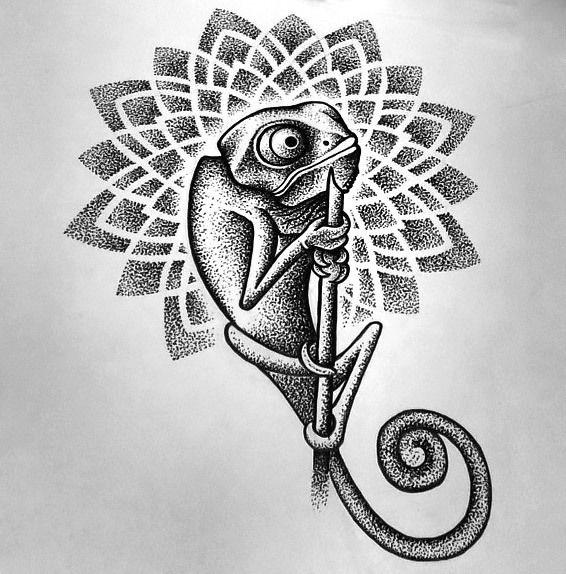 Chameleon Outline Tattoo: Dotwork Chameleon Tattoo Design