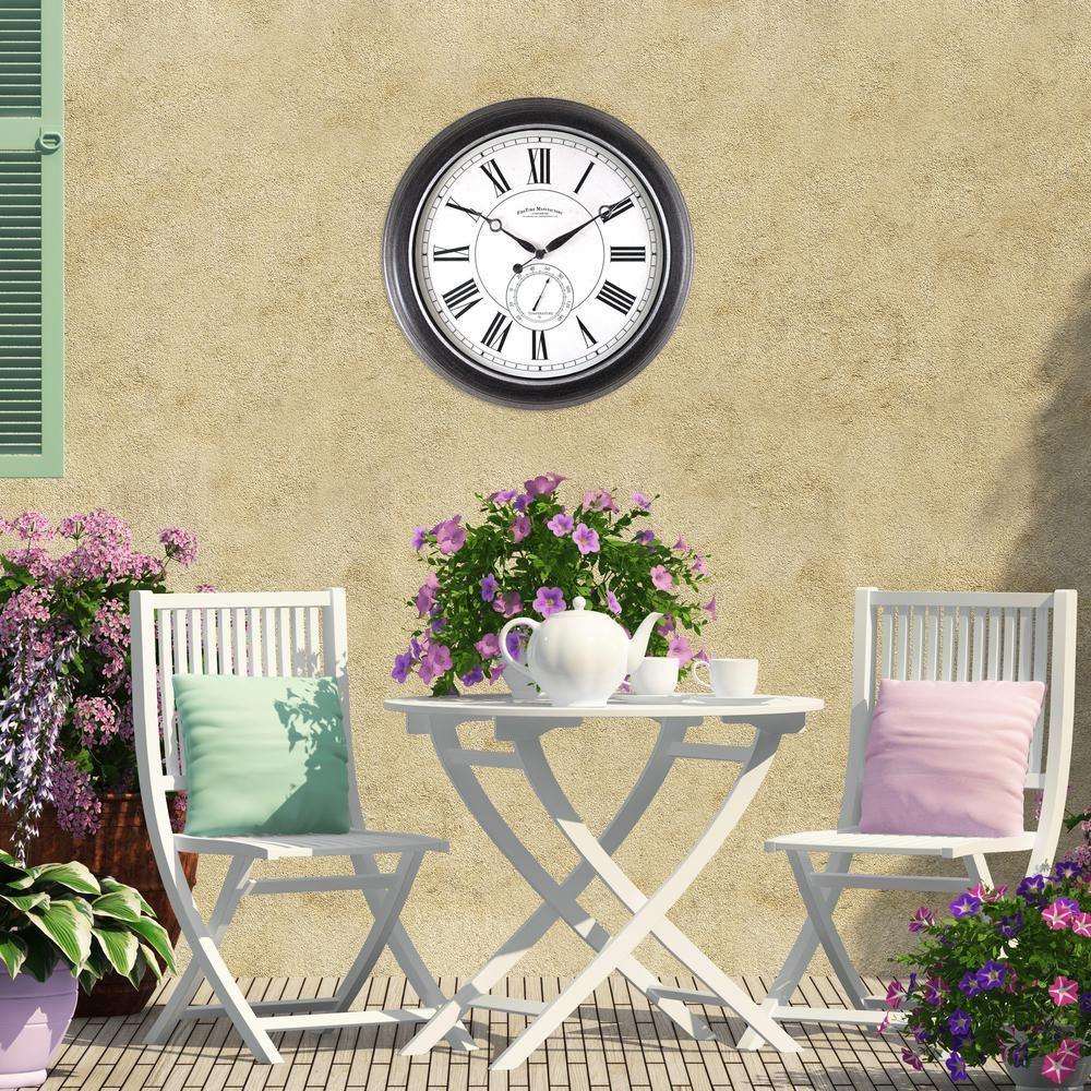 22.5 in. Round Summit Outdoor Wall Clock | Outdoor wall clocks ...