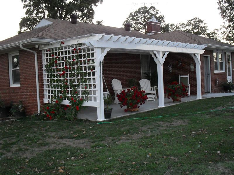 10 x 24 Vinyl Pergola Attached To House With Custom Lattice