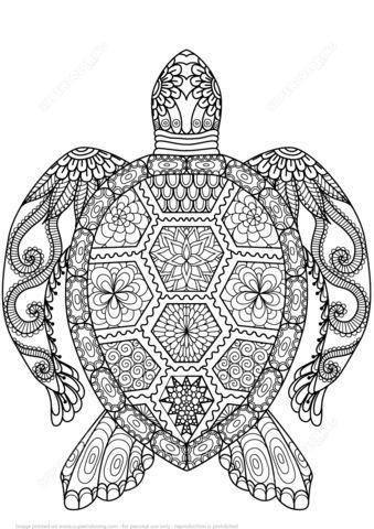 Tortuga Zentangle Dibujo para colorear …   Caligrafía   Pinte…