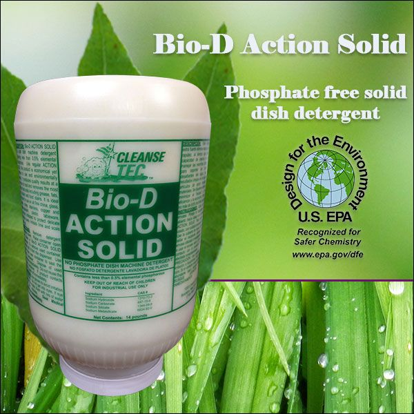 phosphate free solid dish machine detergent  - http://cleansetec.com/product/bio-d-action-solid/