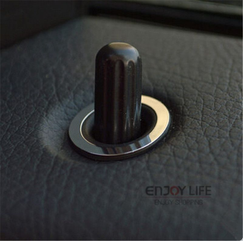 4pcs car door lock pin knob button trim ring cover sticker for