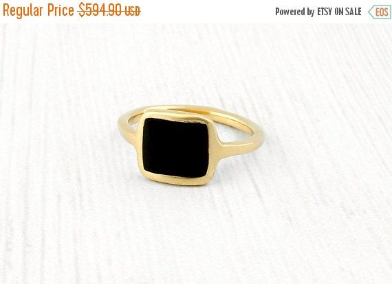 SALE 14K Gold ring, Solid gold ring, Square ring inlaid with colorful  enamel,