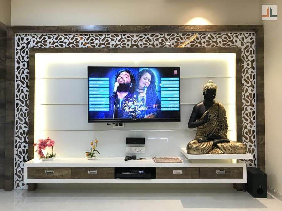 Gundecha Trillium Kandivali East Mumbai 3bhk Home Interior Design 1200 Square Foot 15 In 2020 Hall Interior Design Flat Interior Design Tv Unit Interior Design #tv #stand #design #for #living #room