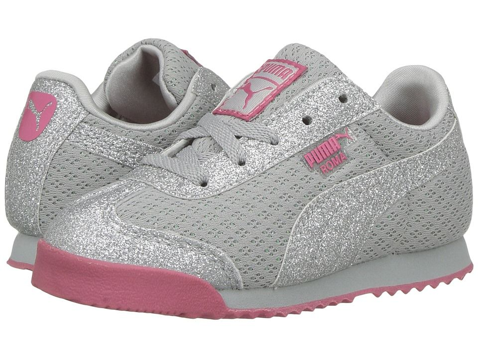 f5f71be4e5fdb8 Puma Kids Roma Glitz Glamm Mesh (Toddler) Girls Shoes Puma Silver Puma  Silver